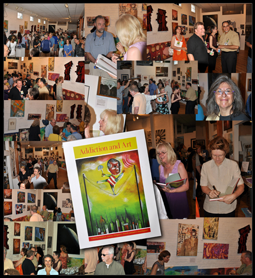 Collage of pictures from Addiction and Art Show June 19 reception.